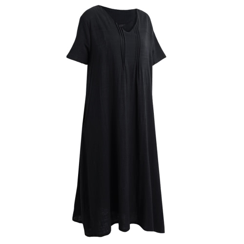 Fashion Women Linen Maxi Dress Deep V Short Sleeves Side Pockets Plus Size Robe Long Dress Black/Grey