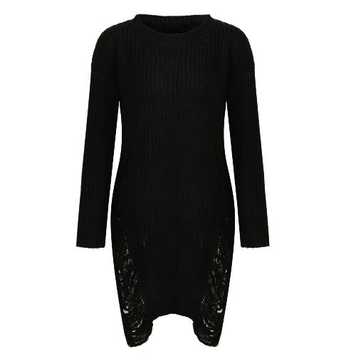 Las mujeres de la moda rasgó el vestido del suéter hecho punto O Manga larga del cuello Destroyed Irregular Oversized Pullover Knitwear