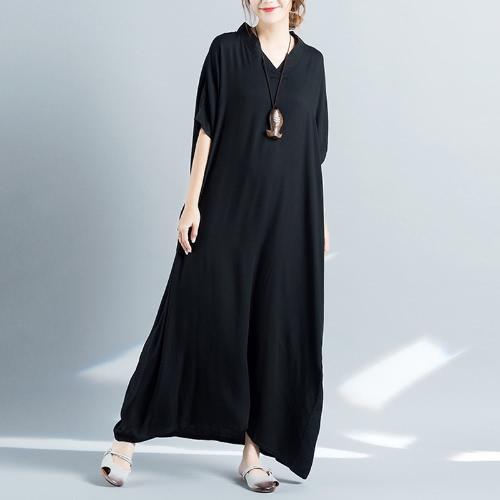 New Fashion Women Boho Maxi Dress V Neck Batwing sem mangas Summer Plus Size Swing Dress
