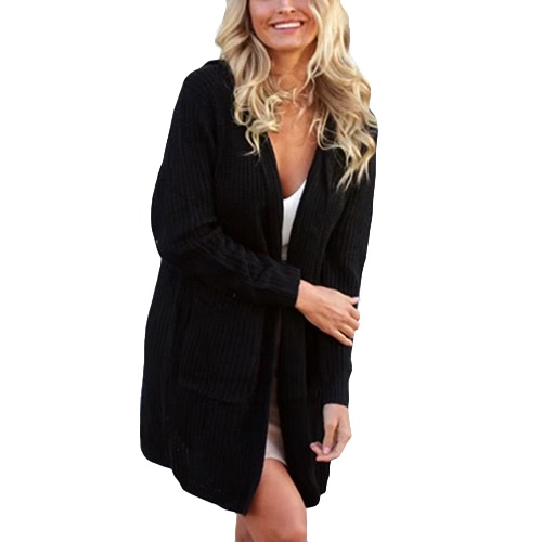 Zima Kobiety Z Kapturem dzianiny Sweter Kasztanowaty Lace Up Spodnie Długie rękawy Dorywczo ciepłe Loose Outerwear