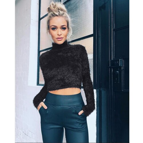 New Fashion Women Knitted Fluffy Sweater Jumper Crop Top Turtle Neck Long Sleeve Mohair Slim Pullover Knitwear