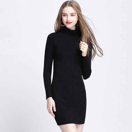 Сексуальная осень зима Slim Turtleneck Bodycon Women's Sweater Dress