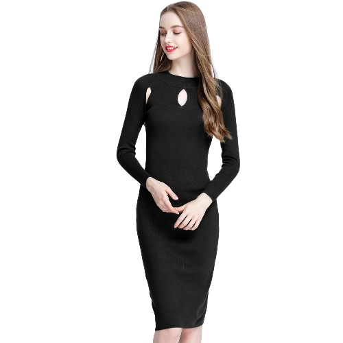 Kobiety Autumn Elegancki Seksowny Cutout Suknia Slim Sukienka Bodycon Solid Color Casual Dzianina Sukienka Green / Black / Burgundy