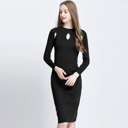Women Autumn Elegant Sexy Cutout Slim Sweater Dress Bodycon Solid Color Casual Knitted Dress Green/Black/Burgundy