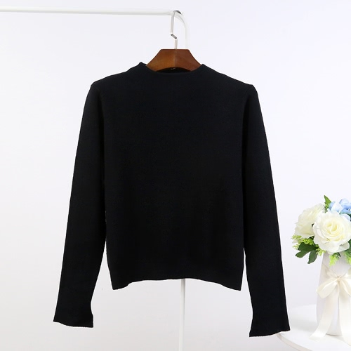 New Women Knit Sweater Pullover Jumper Turtleneck Slit Long Sleeve Casual Knitwear Tops