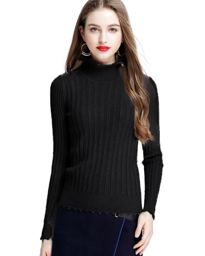 Mujeres Ribbed Knitted Pullover Suéteres Turtle Neck Scalloped Sólidos Slim Stretchy Jumpers Knitting Top