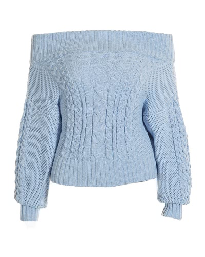 816b46339a Fashion Women Off Shoulder Puff Sleeve Chunky Knit Sweater Slash Neck  Casual Loose Knitwear Pullover Light