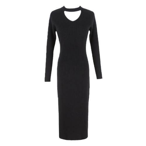Neue Frauen stricken Kleid Runway Kleid Pullover Slim Ribbed Stretchy Höhle aus Long Bodycon Kurz Kleid Beige / Schwarz / Burgund