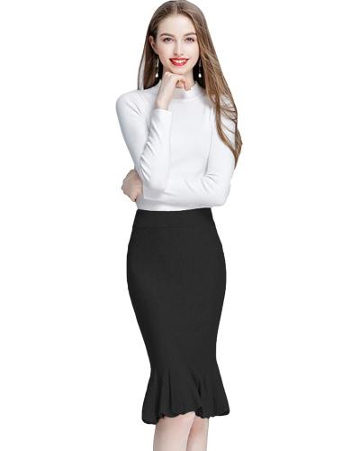 Zima kobiety modne dzianiny Midi Trąbka spódnica Syrenka Wysokie Talia Solid Color Bodycon elegancka spódnica