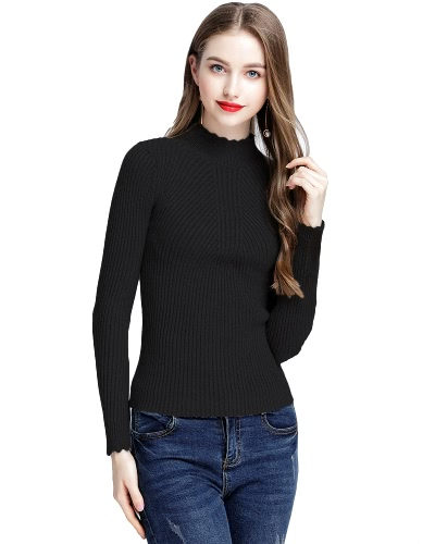 Mode Frauen Turtleneck Langarm Ruffled Strick Pullover Solid Basic Pullover Slim Fit Strickwaren Pullover Tops
