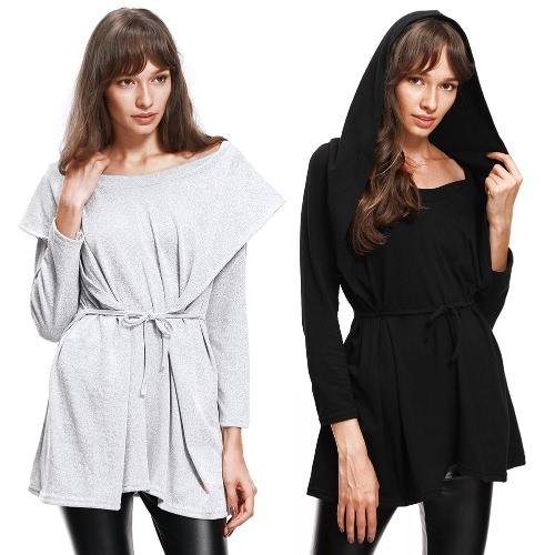 Women Hoodies Sweatshirt Casual Outerwear Hoody Loose Long Sleeve Hooded Pullover Top Black/Grey