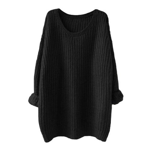 Camisola de malha de mulheres novas Camada de manga sólida Luva longa Loop Warm Jumper Coat Pullover Knitwear