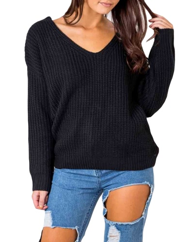Sexy Backless Tricô Pullover Lace Up Winter Sweater Tops Mulheres Loose Casual Cavalgante Knitwear Jumper