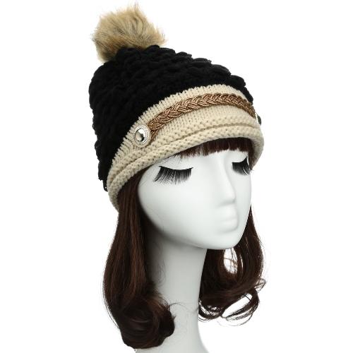 Moda Kobiety Zima Dzianiny Kapelusz Knit Crochet Faux Fur Kapelusz Pomarańczowy Pomarańczowy Beret Pleciony Czapka Narciarska