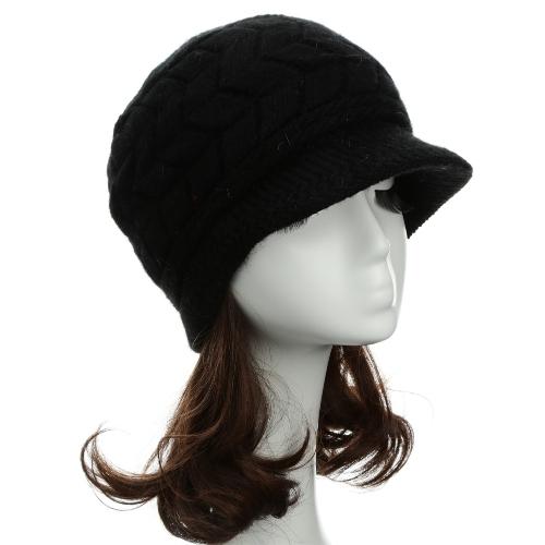 As mulheres da moda de malha boina Crochet desleixo folgado gorro inverno quente chapéu Cap Headwear