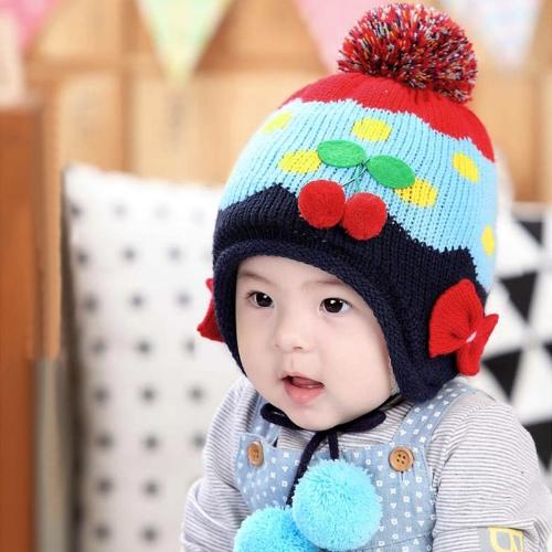 Los niños del bebé de punto sombrero Bowknot cereza lindo paño grueso y suave Earflap Hat niños pompón Cap