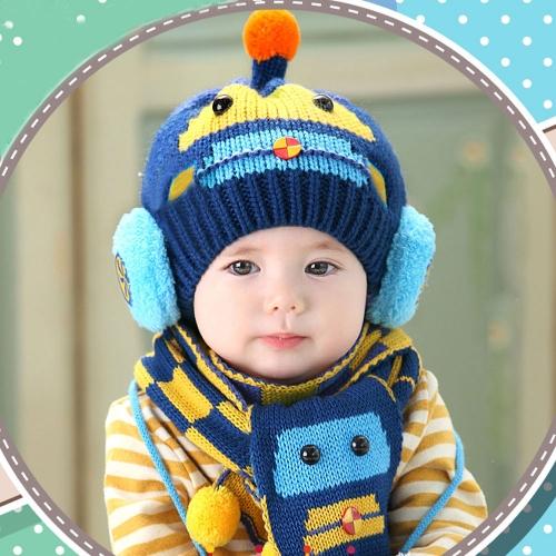 Lindo invierno niños niñas chicos Kintted sombrero bufanda cuadros pequeños bebés espesan los niños caliente gorro