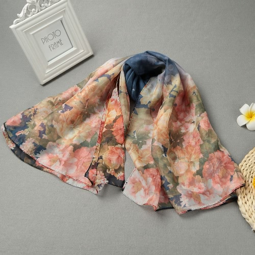 Women Long Scarf Shawl Floral Print Multi Ways Dual Layer Bead Closure Scarves Thin Pashmina Cover Up Pink/Dark Blue