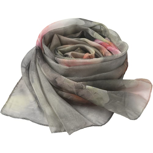 Romantische neue Frauen Chiffonschal mit Blumenmuster langer dünner Schal-Schal Pashmina