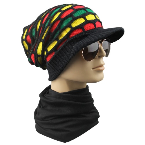 Men Women Knitted Hat Beanie Visor Plaid Baggy Autumn Winter Cap Warm  Crochet Slouch Skull Hat 889bdb6c97ad
