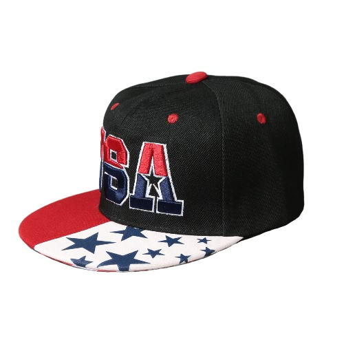 Hip American Flag Snapback Hat USA List do haftowania Sport Hop Kobiety Mężczyźni Baseball Cap Dark Blue / White / Black