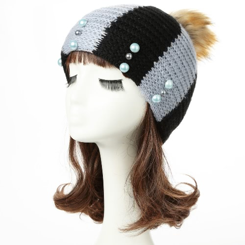 Cap Knit New Mulheres Winter Hat Beanie Contraste Stripe Pom Pom Bead Causal Slouchy Baggy Skullies