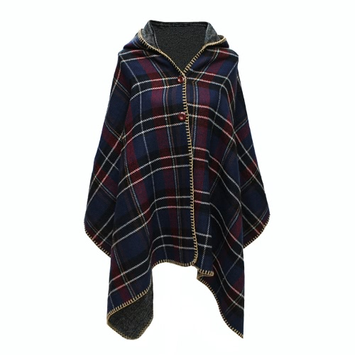 New Women Hooded Cape Long Shawl Plaid Print Button Elegant Oversize Loose Pashmina Red/Army Green/Dark Blue