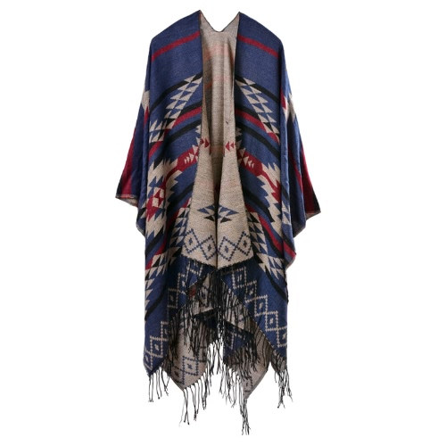 New Women Knitted Cape Poncho Open Front Geometric Striped Tassel Fringe Duplex Cashmere Shawl Scarf Pashmina