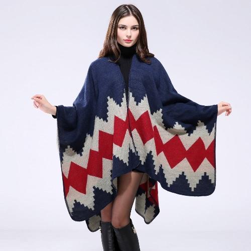 Fashion Women Warm Knitted Cape Geometric Print Open Front Large Contrast Poncho Shawl Pashmina Casual Cardigan Dark Blue