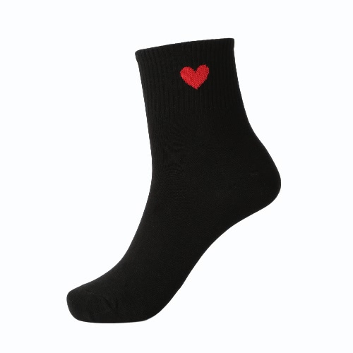 New Women Girl Socks Solid Heart-Shaped Print Breathable Stretchy Casual Sport Long Socks