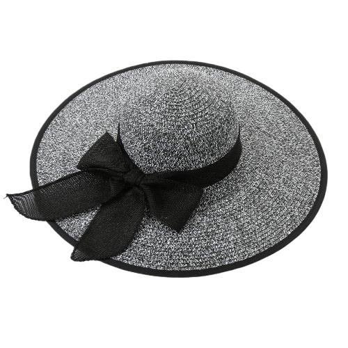 Moda Mulheres Chapéu de Sol Chapéu de Palha Grande Brim auto-tie Sólidos Verão Sunbonnet Praia Chapéu Panamá