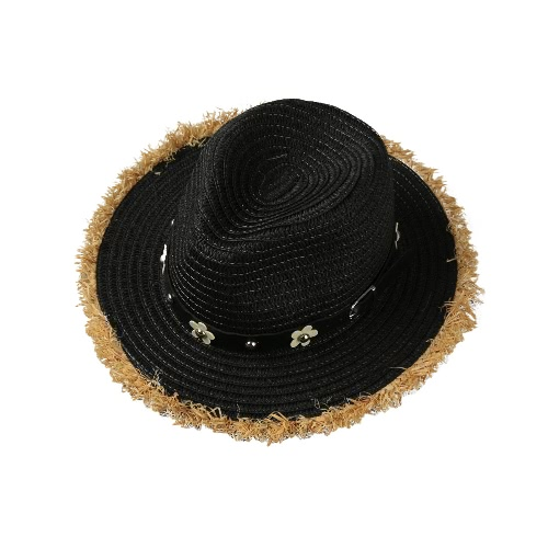 New Fashion Women Straw Hat Daisy Rivet Belt aba larga Verão Sun Beach Cap Chapéu Panamá Preto / Khaki