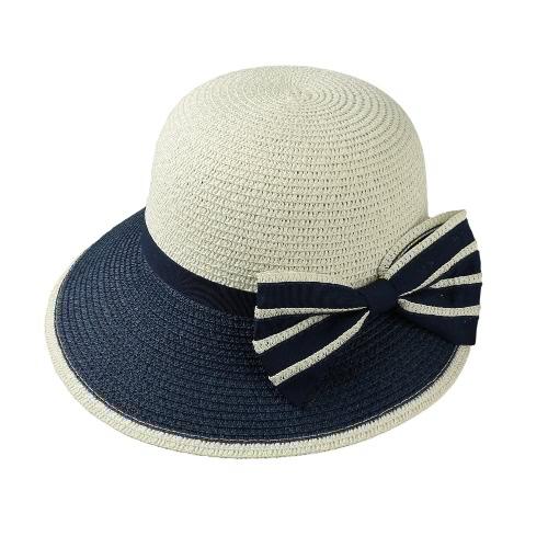 Las nuevas mujeres del arco del sombrero de paja de ala ancha en color de contraste de playa del verano del casquillo de Sun de disquete sombrero flexible sombrero de color caqui / café / azul oscuro