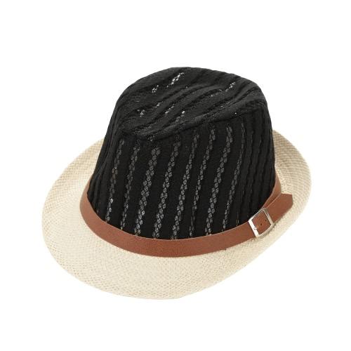 Moda Boy Girl Straw Hat oco Sheer malha Contraste Belt Cap Hat Trilby Fedora Curly Brim bebê Crianças Unise Panama Jazz