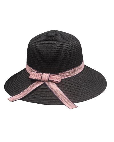 Frauen-Sonnenhut-Strohhut-starker breiter Rand-Kontrast-Bogen-Band-Sommer Sunbonnet Fedora-Strand-Panama-Hut