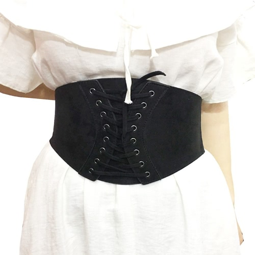 Moda damska Faux Suede Gorset Pasek Szerokie Talia Waistband Vintage Tie Pasek Pasek Czarny