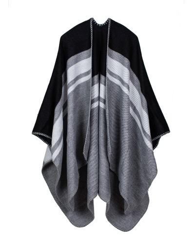 Vintage Women Knit Shawl Poncho Faux Cashmere Stripe Pattern Oversized Long Bohemia Cape