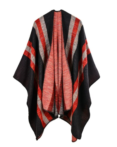 Mulheres Vintage Faux Cashmere Knitted Poncho Shawl