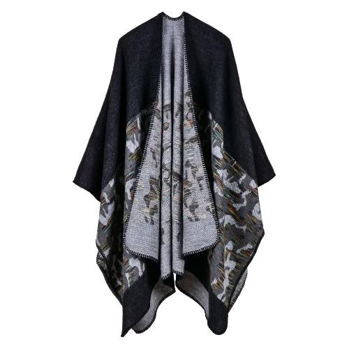 Moda Mulheres Poncho Cardigan Sweater Camuflagem Faux Cashmere Capes Shawl Scarf Loose Casacos De Vestuário
