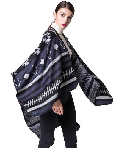 Mujer Poncho Bufanda Cardigan Sweater Impresión Geométrica Caliente