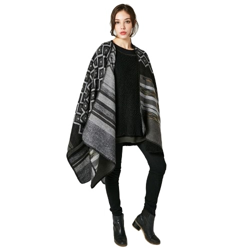 Winter Women Loose Outerwear Coat Oversized Knitted Cashmere Poncho
