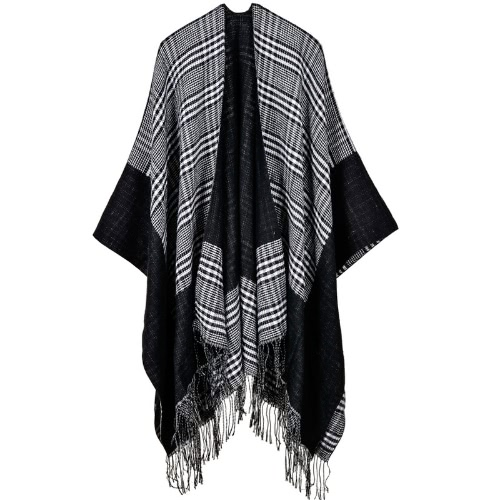 Vintage Women Knit Shawl Poncho Faux Cashmere Plaid Check Tassel Oversized Warm Long Winter Cape