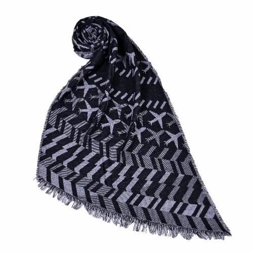 Neue Frauen lange Schal Flugzeug Muster Druck Kontrast Farbe Quasten Vintage Schal Cape