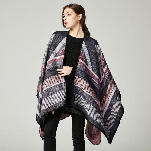Image of Frauen Poncho Schal Strickjacke Pullover Geometrische Striped Warm Kap Schal Lange Schals Pashmina Outwear