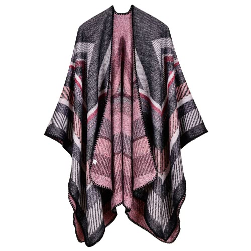 Mulheres Poncho cachecol Cardigan Sweater Geométrico Striped Warm Cape Shawl Long Scarves Pashmina Outwear