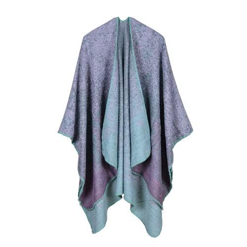 Nuevas mujeres hechas punto Poncho Cape rayas gradiente de gran tamaño Cardigan suéter Long Shawl bufanda Cashmere Pashmina