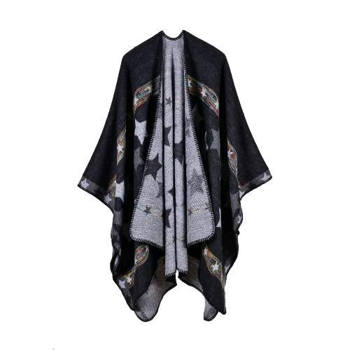 New Women Knitted Poncho Cape Star Oversized Cardigan Sweater Long Shawl cachecol Cashmere Pashmina