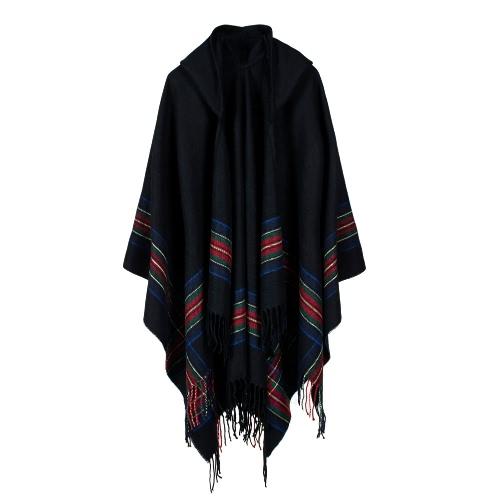 New Women Knitted Poncho Cape Stripe com capuz Camisola de cardigan oversized Lenço de xale longo Cashmere Pashmina