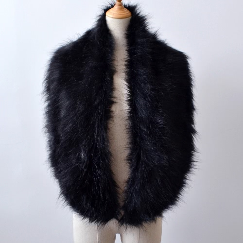 New Fashion Women Faux Fur Collar Outono Inverno Fluffy Soft Warm Scarf Shawl Solid Stole