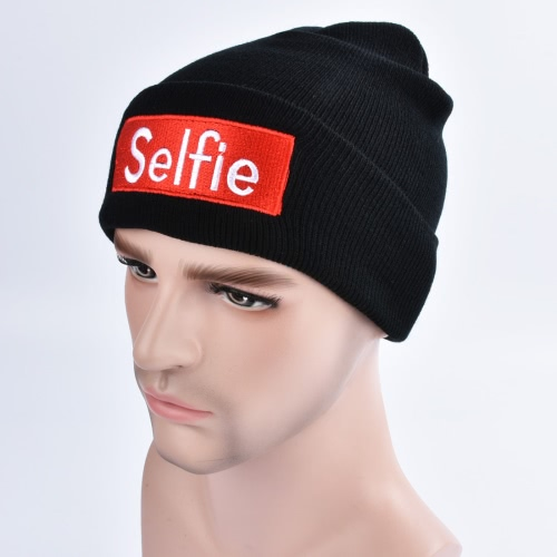 Moda Men Women Selfie Bordado Beanie Knit Hat Winter Warm Cap Unisex Hippop Slouchy Skull Hat